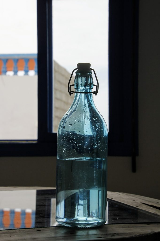 Glass bottle of alkaline water